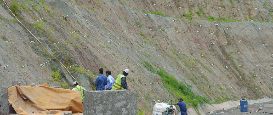 Hydroseeding, slope protection at the Chenani Nashri Tunnel Portal