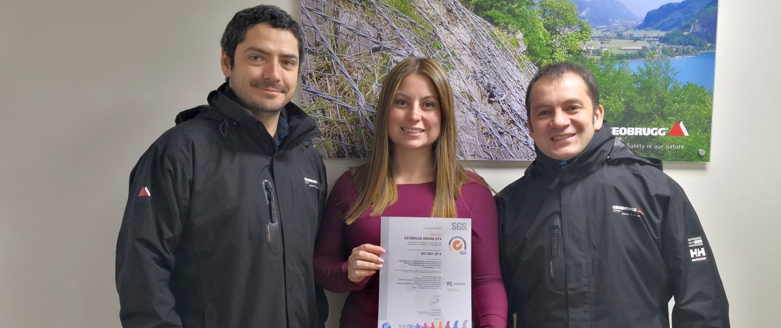 Geobrugg in Chile is ISO 9001:2015 certified, May 2019