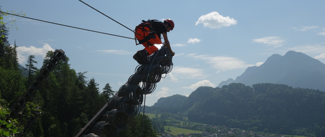 Geobrugg installation of RXE rockfall protection systems in Bludenz, Austria.