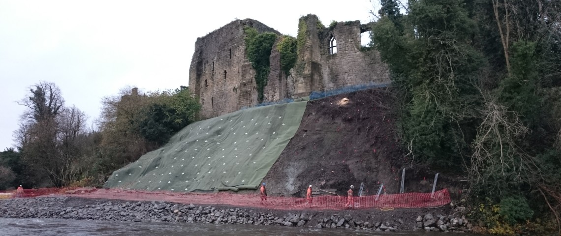 Slope stabilization with TECCO G45/2 at Cockermouth Castle in England