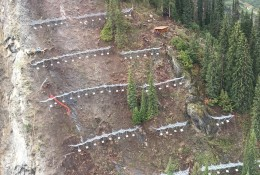 Cougar Corner - the largest snow net barriers project in America. Shown here approx. 25 % of the entire project.