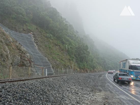 Proteção contra fluxos de detritos - Kaikoura Coastal Pacific Rail (SK16) 2019